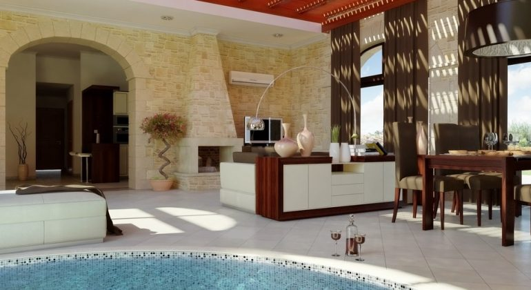 Living area with indoor pool