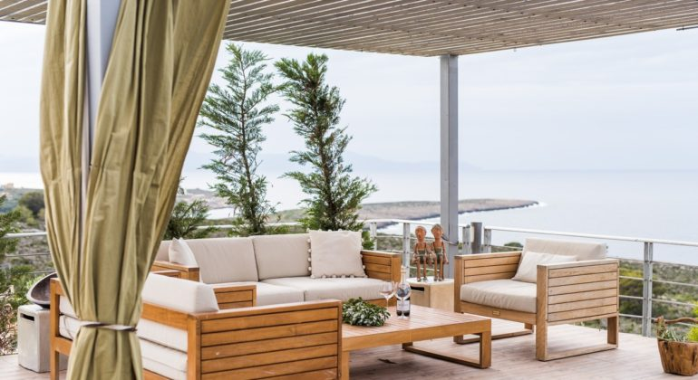 Pergola covered sitting area
