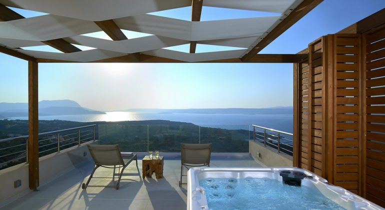Terrace with outdoor jacuzzi-hot tub