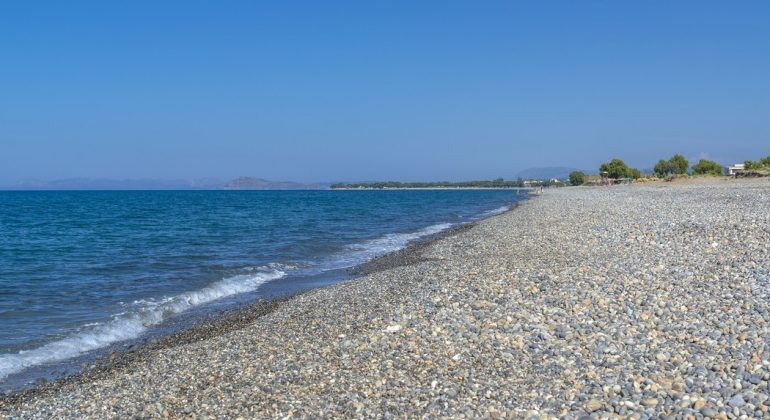 The beach in front of the villas