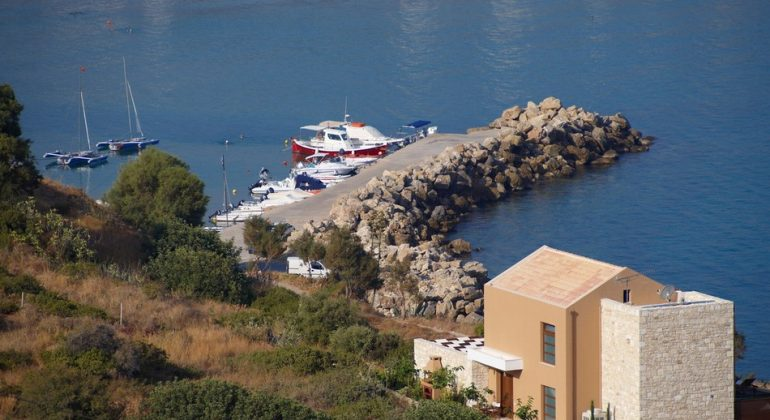 The villa and the nearby marina
