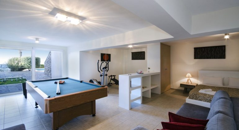 Lower floor with pool table