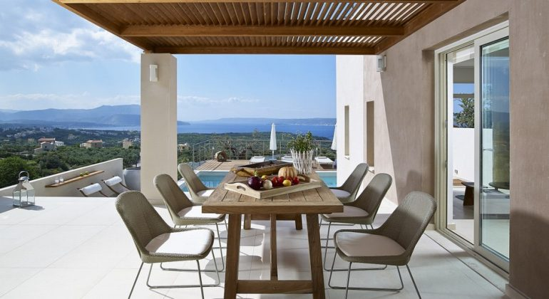 Outdoor dining area with views