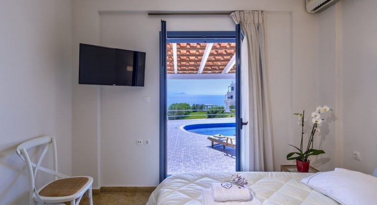 Views to the sea from a double bedroom
