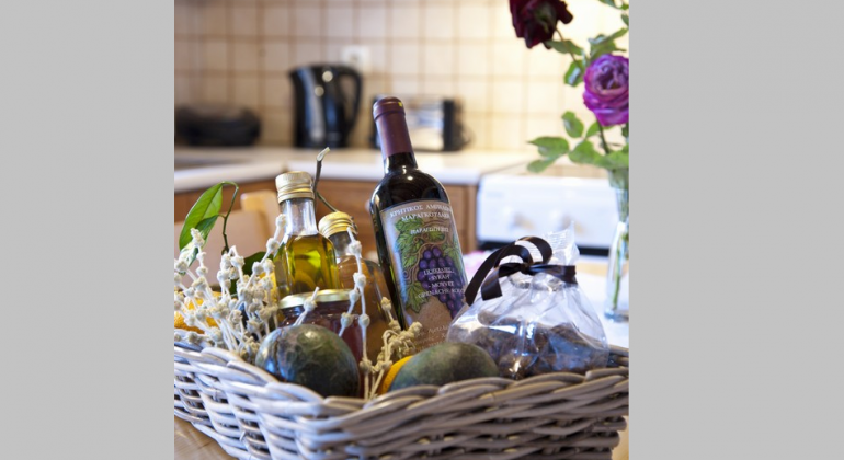 Welcome basket with traditional Cretan products