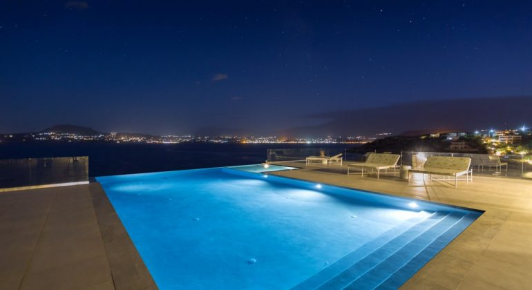 Pool and views at night