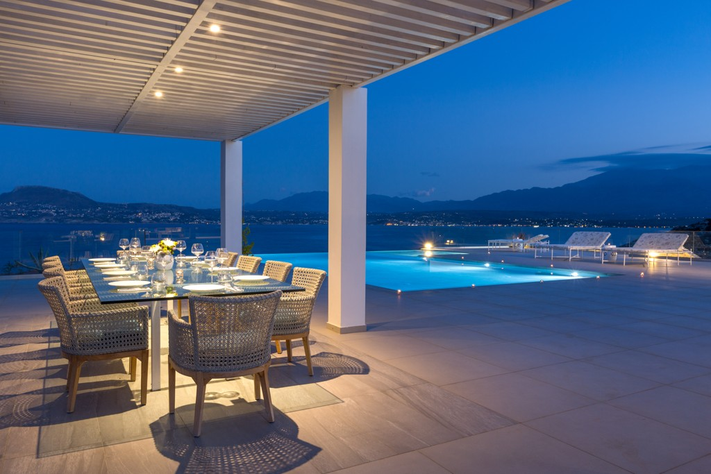 Pool terrace at night