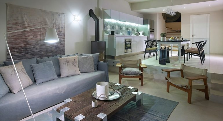 Living area and open-plan kitchen
