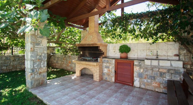 Stone-built BBQ area
