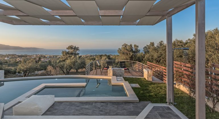 Pergola covered area by the pool