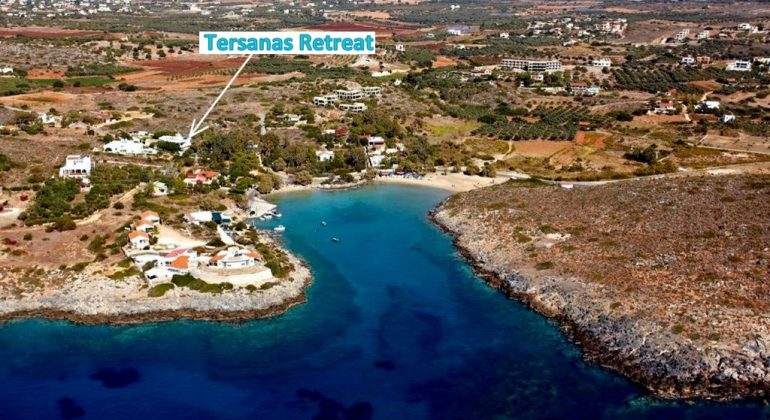 WEST CRETE-TERSANAS BAY AERIAL VIEW-THE VILLA  LOCATION