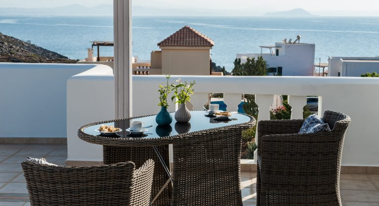 Top floor terrace with views to the sea