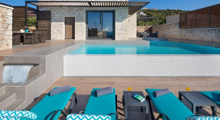 Pool terrace and sunbeds by the pool